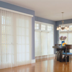 Comfortex Sheer Vertical Blinds - Comfortex Sheer Blinds feature the appearance of drapery with the functionality of a blind - the best of both worlds! Starting at just $145.66, these sheer shades are light, transparent and breezy.