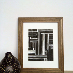 Printwork - Playful Modern Lines 8 x 10 Hand-pulled Linocut Print - This print has a simple composition of lines with various lengths and widths. This print would make an interesting statement in any space.