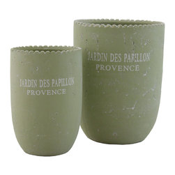 "Selectives - Pap Large Decorative Planters, Set of 2 - You may have been looking for an addition to your outdoor patio, lanscape or maybe even indoor space.  The search is over!  Adorn your garden or any spot in your home with this set of 2 green ceramic planters that will elevate any space to the next level of awesomeness. Product dimensions: Large- 7""dia x 9""H; Small- 5""dia x 7.5""H"