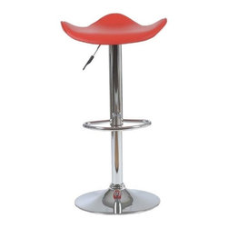 Eurostyle - Eurostyle Fabia Leatherette Bar/ Counter Stool w/ Gas Lift in Red - Leatherette Bar/ Counter Stool w/ Gas Lift in Red belongs to Fabia Collection by Eurostyle Contemporary bar chair perfect from top to bottom. Actually with its uniquely formed seat its especially good with bottoms. Chrome plated steel makes it sturdy and permanently hip. Bar/ Counter Stool (1)