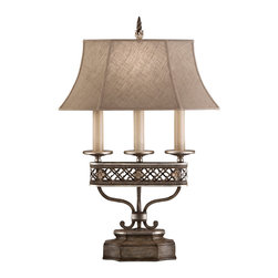 Fine Art Lamps - Villa Vista Table Lamp, 810010ST - A beautiful lamp can do so much more than simply light up a room. When you place an elegant lamp like this with hand-painted detailing, be prepared for it to get some attention. Of course, the linen shade will ensure a flattering cast of light and the detailed craftsmanship will attract countless admirers.