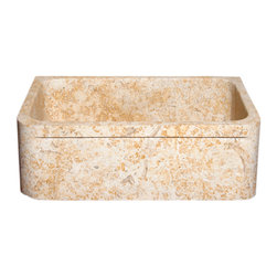 The Allstone Group - KF3020SB Sandstorm Honed Kitchen Sink - Natural stone strikes a balance between beauty and function. Each design is hand-hewn from 100% natural stone.  Allstone farmhouse or apron sinks are very versatile.  They can be installed flush, above or below your countertop depending on what you want to achieve.  They are also suitable for waste disposal units or basket strainer waste