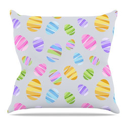 """KESS InHouse - KESS Original """"Pastel Eggs"""" Easter Pastels Throw Pillow, Outdoor, 20""""x20"""" - Decorate your backyard, patio or even take it on a picnic with the Kess Inhouse outdoor throw pillow! Complete your backyard by adding unique artwork, patterns, illustrations and colors! Be the envy of your neighbors and friends with this long lasting outdoor artistic and innovative pillow. These pillows are printed on both sides for added pizzazz!"""