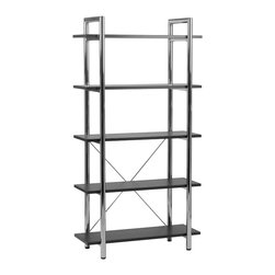 Eurostyle - Laurence-5 Bookcase-Black/Chrome - The distinguished look of leather and the refined shine of chrome are on display in this eye-catching bookcase. It stands proud, waiting for you to store books and decorative accessories on its five shelves.