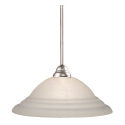 One Light Brushed Nickel White Swirl Glass Down Pendant - Brushed nickel finish and white swirl shades make this one light pendant fixture a sophisticated addition to any home.