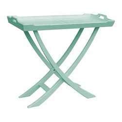 EuroLux Home - New Console Blue Painted Hardwood Tray Chedi - Product Details