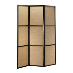 Adesso - Haiku Folding Screen in Black Finish - Gain control of your casual living space, bedroom and more with this classic screen and room divider. It shows traditional, harmonious architecture with a black wood frame and woven bamboo panels. Double hinged design allows endless configurations for that customized look. Wood frame with 3 woven bamboo panels. Panel contains 3 rectangular sections. Black with khaki colored bamboo. Double hinges. Each panel: 17 in. W. Screen rests flat on the floor. Total screen: 52 in. W x 1 in. D x 70 in. HBamboo boxes: 15 in. W x 21.5 in. HWood frame with 3 woven bamboo panels. Each panel contains 3 rectangular sections. Black with khaki colored bamboo. Double hinges allow the panels to be folded in either direction. Each panel: 17 in. Width. Total screen: 52 in. Width, 1 in. Depth, 70 in. Height. Bamboo boxes: 15 in. Width, 21.5 in. Height. Screen rests flat on the floor.