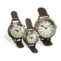 Interlude Home - Interlude Home 49 Bond Street Watch Clocks - These Interlude Home Watch Clocks  are crafted from Metal and Leather and finished in Polished Nickel and Dark Brown.  Overall sizes are: 7 in. W  x  8 in. D x 8 in. H.  6 in. W  x  7 in. D x  7 in. H.