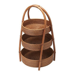 Kouboo - Rattan 3-Tier Basket - Take your entertaining to new heights with this hand-woven rattan three-tier server. Featuring three levels, this rattan server will beautifully display fruits, vegetables, tropical flowers and more. Also functioning as a space-saver, this rattan 3-tier server can help organize your kitchen in a naturally beautiful way.