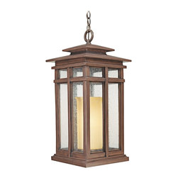 "Troy - Country - Cottage Cottage Grove Collection 24 1/2"" High Outdoor Hanging Light - The Cottage Grove outdoor collection from Troy Lighting offers refined appealing style that's a great match for many homes. The frame comes in a beautiful cottage bronze finish. Clear seeded glass panes combine with an amber scavo glass inner cylinder to create a beautiful glow. A warm inviting look for your exterior. Cottage bronze finish. Clear seeded/amber scavo glass. Takes one 100 watt bulb (not included). 24 1/2"" high. 11 1/2"" wide.  Cottage bronze finish.  Clear seeded/amber scavo glass.  A Troy Lighting design.  Takes one 100 watt bulb (not included).  Damp location rated only.  24 1/2"" high.  11 1/2"" wide."