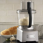 "Frontgate - Cuisinart Elite Collection Food Processor - All work bowls have pour spouts and measurement markings. Easy on/off locking system has push-button release. Stainless steel slicing disc is adjustable from 1 to 6 mm. Stainless steel shredding disc reverses from fine to medium. Dough blade for making bread, pizza dough, and more. The ultimate food prep tool, our Cuisinart Elite Collection Food Processor is really 3 food processors in one. Just choose the size you need &#151 4-1/2-cup, 11-cup, or 14-cup work bowls &#151 and you're ready to tackle chopping, slicing, or shredding jobs big or small.  .  .  .  .  . All removable parts are dishwasher safe . Retractable 30"" cord . 120V . Read more additional features"