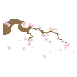 Falling Cherry Blossom Flowers and Petals Wall Decal - This lovely collection of flowers, falling petals, and tree branch are suitable for children's rooms, offices, and schools.