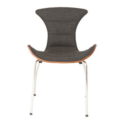 Euro Style - Stefano Side Chair (Set Of 2) - If a chair could smile this would be it. The playful lines are lively and modern with no compromise in comfort. It's a sit-back-and-chat-for-a-while chair with fabric upholstery and a walnut veneer back. The 'cutaways' in the back make arm and shoulder movements unrestricted and easy.
