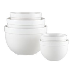 """5-Piece 5.5""""-9.75"""" Nesting Mixing Bowl Set - Deep nesting bowls with broad rims mix, serve and display in white high-fired earthenware."""