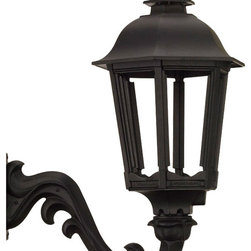 American Gas Lamp Works - The Bavarian Outdoor Gas Lighting Bronze Age Wall Mo - The American Gas Lamp Works Bavarian Lamp is a traditional, six-sided lamp that conveys European sophistication and solid functionality. Typical of central Europe�۪s cobblestone villages, the Bavarian is one of our most flexible lamp designs. Its domed top is an ideal focal point for your choice of custom finials; and you may consider beveled panes to add a dash of sparkle. Available for use with gas or electric.