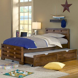 Heartland Trundle Bed - The Heartland Trundle Bed is a beautiful piece of bedroom furniture that you will love having.This trundle bed is made with sengon tekik solids and veneers and an easy to maintain finish. The vertical and horizontal lumber interlocks making this bed extra sturdy and safe. The large trundle pulls out for extra sleeping space that is great for sleepovers or overnight guests. Some assembly required.We take your family's safety seriously. That's why all of our bunk beds come with a bunkie board, slat pack, or metal grid support system. These provide complete mattress support and secure the mattress within the bunk bed frame. Please note: Bunk beds and loft beds are only to be used by children 6 years of age or older.About American WoodcraftersFor unparalleled quality and value, choose American Woodcrafters for your youth or master bedroom furniture. Founded in 1996 as a division of Rockford Capital Corporation and located in High Point, N.C., American Woodcrafters is the brainchild of John N. Foster. His 40 years of experience in manufacturing, marketing, and product development inspire the company to deliver superior furniture designs of exceptional value. Each exquisite furniture piece is well-made and creatively styled, with a fine quality finish and innovative features to make your home more beautiful and functional.