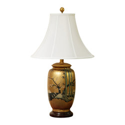 China Furniture and Arts - Gold Leaf Scenery Design Ceramic Lamp with Shade - Delicately hand painted on porcelain, the quiet beauty of the hand painted scenery with gold leaf background easily complements any contemporary setting. Topped with white silk shade. Wooden base. 75 watt max, bulb not included.