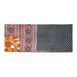 Sari Kantha Stitch Throw - Vintage layered kantha stitch throw, handmade in India from recycled cotton saris.
