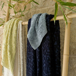 Comforting and Luxurious Bath Details - Akhara from Nandina Green - clockwise from left to right: Lichen, Black Pearl, Onyx, & Blanca.