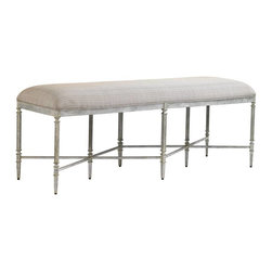 Stanley - Preserve Gardiner Bench - The fine lines and hand-applied Salted Silver Leaf finish on the Gardiner Bench imparts a lustrous shimmer that's inviting and serene.