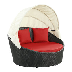 """LexMod - Siesta Canopy Outdoor Patio Daybed in Espresso Red - Siesta Canopy Outdoor Patio Daybed in Espresso Red - Awaken from your daytime repast while comfortably ensconced in this boundless elliptical daybed. Return to newly focused strength and vigor with an affluent all-weather white cushion and retractable sun guard. Siesta's modern form shows that, independent of everything, your space in the world is determined by your ability to make the most out of revitalized pursuits. Set Includes: One - Siesta Outdoor Wicker Patio Canopy Bed Three - Siesta Outdoor Wicker Patio Throw Pillows Synthetic Rattan Weave, Powder Coated Aluminum Frame, Water & UV Resistant, Machine Washable Cushion Covers, Ships Pre-Assembled Overall Product Dimensions: 63""""L x 63""""W x 31""""H Seat Height: 14""""HBACKrest Height: 30""""H Armrest Dimensions: 1""""W x 22""""H - Mid Century Modern Furniture."""