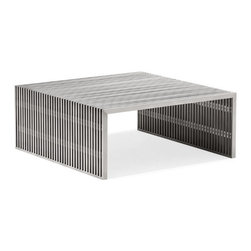 ZUO - Novel Square Coffee Table - Crafted from industrial stainless steel, The Novel series is both graceful and gritty. Comes in a sleek console and a square or long coffee table. Pieces sold separately.