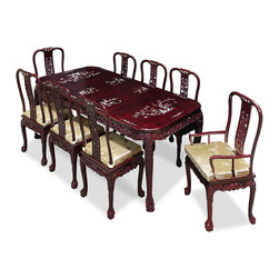 "China Furniture and Arts - 80in Rosewood Queen Ann Grape Motif Dining Table with 8 Chairs - Hand crafted of solid rosewood by artisans in China using traditional joinery technique by and intricately inlaid with mother-of-pearl flowers to decorate the entire table top and the chairs. Table and chairs are laced with hand-carved grape motif along the edges. This rectangle dining set is an eye catching piece every time you entertain. The table can be extended to 80"" with two 18"" removable leaves for your convenience. Hand applied dark cherry finish enhances the beauty of the pearl inlay."