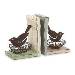 iMax - iMax Davis Bird Nest Bookends - Set of 2 X-2-17027 - Using found objects, such as twisted wire, ceiling tiles and base board molding, this set of two bird next bookends from the Ella Elaine collection add a fresh spin to any bookshelf!