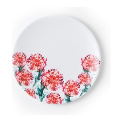 "Q Squared NYC - 8.5"" Round Plate Madison Bloom - Brush Floral - Plate your meals on something really pretty! With its bright brush-stroked floral pattern, this melamine dish will look great on your table and show off your fine cuisine."