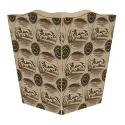 "Marye Kelley - Delft Dog Brown Wastepaper Basket - Delft Dog Brown Wastepaper Basket 11"" Wood Scallop Top"