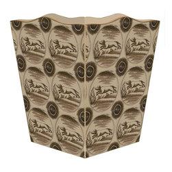 """Marye Kelley - Delft Dog Brown Wastepaper Basket - Delft Dog Brown Wastepaper Basket 11"""" Wood Scallop Top"""