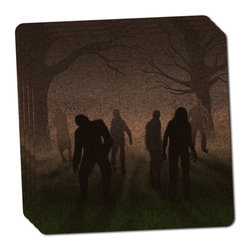 "Made on Terra - Rise of the Zombie Horde Thin Cork Coaster Set of 4 - You're just cleaning up after your epic party when you realize it... something's different. Unlike all those other times, you're not mopping up cup condensation from your counters and tables. This time, everyone used a coaster. Everyone. Maybe it's because you handed out a coaster with every glass. No. You've tried that before. No, this time it's because of the actual coasters. You found the cutest Made On Terra printed cork coasters. You love that everyone commented on how unique they were,  from the light-weight, thin cork material to the printing that creates a cool and subtle effect. Plus, they're really absorbent, but dry quickly. And they're made from an eco-friendly, sustainable resource, so that makes you feel pretty great, too. Choose from Made on Terra's many fabulous cork coasters. Measures 4"" x 4"" x 1/8"". Made of thin cork. Super cute and nicely absorbent. Sold in sets of four."