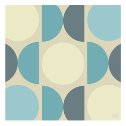 "Emma at Home - MOD Print, Ocean, 11"" x 114"" - Circles and demilunes provide a graphic pop to plain-Jane walls. The ""Buttered Toast"" colorway in warm grays and mustard yellow is a favorite, but the print also comes in shades of orange, green or blue."