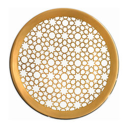 Merdinger House Of Design - Arabesque Under Plate - Charger Gold - Place the Arabesque collection's plates upon the special Under Plate / Charger for the full luxurious effect. This stunning plate is crafted flawlessly from fine bone china porcelain with almost 50% bone ash. The surface of the Under Plate exhibits the starry Arabesque patterned embossed decal in rich 12% pure gold.