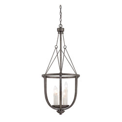 "Savoy House - Savoy House 3-6002-5-285 Epoque 35""H Large Foyer Lantern - From The Epoque collection, This three-light chandelier is industrial chic with wire suspension cables and a Textured Antique Nickel finish."