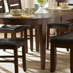 Homelegance - Wooden Oval Dining Table with Butterfly Leaf - Chairs and bench sold separately.