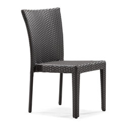 ZUO VIVA - Arica Chair Espresso - With a flat base and a curving back the Arica is a genuine chair that is sure not to disappoint. The UV resistant synthetic weave will stand up to any weather and the aluminum tube frame will not rust in any condition. While dining or just relaxing with a drink you will not be disappointed by the comfort and support offered from this chair.