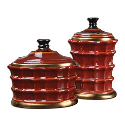 Uttermost - Brianna Ceramic Canisters, Set of 2 - Red alert! Made of caramelized red ceramic, this set of canisters will add an instant shot of bold and beautiful color to your shelf, mantle or coffee table. Each is finished with gold-leaf accents for an elegant touch.
