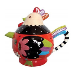 """Westland - 7.25"""" Multi-Colored Cozy Rooster 33 Oz Tea Pot with Striped Handle - This gorgeous 7.25"""" Multi-Colored Cozy Rooster 33 Oz Tea Pot with Striped Handle has the finest details and highest quality you will find anywhere! 7.25"""" Multi-Colored Cozy Rooster 33 Oz Tea Pot with Striped Handle is truly remarkable."""