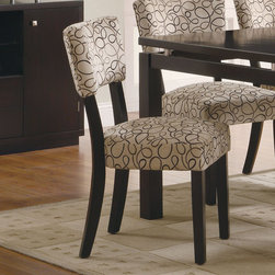 Coaster - Libby Collection Side Chair in Cappuccino, Set of 2 - Crafted from poplar solids and birch veneers with straight, clean lines accentuated by subtle curves on the chair back and a stunning floating top. This group make a statement in your dining room. Dining set has a dark cappuccino finish witha vibrant patterned upholstered chair. Matching server features matching floating top, storage cabinets and drawers.