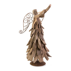 Woodland Driftwood Angel With Trumpet - With a pleasant driftwood design, this angel gently holds a violin and you can almost hear her praises.