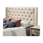 Great Deal Furniture - Allen Wingback Queen/Full Tufted Fabric Headboard, Eggshell - Spruce up the look of your bedroom with this simple furniture accessory. The Allen headboard is designed with button tufts and the quilted wingback feature making this a charming frame for your bed. It can attach to almost any queen or full sized bed, as well as adjust according to the height of your mattress.