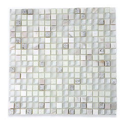 """GlassTileStore - Alloy Deco Blizzard Glass Mosaic Tile - Alloy Deco Blizzard 5/8""""x5/8"""" Glass and Stone Tile             A flurry of frosted and polished glass in white and painted silver foil, our dazzling Alloy Deco Blizzard will shine in your home like nobody's business, allowing you to bring a sleek, contemporary, and modern ambiance to any room. The mesh backing not only simplifies installation, it also allows the tiles to be easily separated, which adds to their design flexibility.         Chip Size: 5/8""""x 5/8""""   Color: White and Painted Silver Foil   Material: Glass and Stone   Finish: Polished   Sold by the Sheet - each sheet measures 12"""" x 12"""" (1 sq. ft.)   Thickness: 8mm   Please note each lot will vary from the next.            - Glass Tile -"""