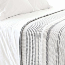Pine Cone Hill - PCH Gradation Ticking Blanket - PCH delivers a preppy yet easy-going accent with the striped Gradation Ticking blanket. The throw's alternating neutral lines lend a touch of modern style. Available in twin, full/queen and king; 100% cotton; Slate, dune, ivory and sand; Designed by Pine Cone Hill, an Annie Selke company; Machine wash