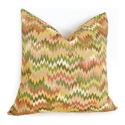 PillowThrowDecor - Spring Pillow Collection - Colorful and dramatic flame stitch / ikat print pillow cover with chevrons in green, yellow, pink, rose, coral. easy mix and match. Custom sizes available.
