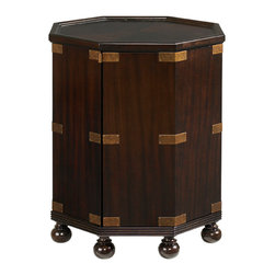 Lexington - Lexington Royal Kahala Pacific Campaign Accent Table 537-952 - The octagonal shape of this drum table sits stately upon round feet and hint at British Campaign with the brass corner accents. The single door opens to an adjustable shelf.