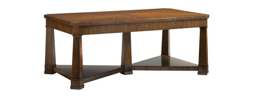 Stanley Furniture - Fairfax-Rectangular Cocktail Table - Unique cherry veneer patterns and a X-stretcher base give the Rectangular Cocktail Table added visual interest and functionality.