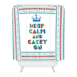 DENY Designs - Andi Bird Keep Calm And Carry On Shower Curtain - Who says bathrooms can't be fun? To get the most bang for your buck, start with an artistic, inventive shower curtain. We've got endless options that will really make your bathroom pop. Heck, your guests may start spending a little extra time in there because of it!