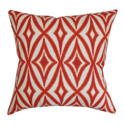 """The Pillow Collection - Petar Geometric Pillow Red 20"""" x 20"""" - Make your living room, bedroom or guestroom a perfect place for relaxation by propping this square pillow. This accent pillow features an intricate geometric pattern in shades of red and white. This decor pillow is versatile and easily blends in various settings. Place this 20"""" pillow on top of the couch, sofa or chair for extra comfort. Made from 100% soft and high-quality cotton fabric. Hidden zipper closure for easy cover removal.  Knife edge finish on all four sides.  Reversible pillow with the same fabric on the back side.  Spot cleaning suggested."""