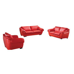ESF - ESF 8080 Coral Red Top Grain Italian Leather 3 Piece Sofa Set - The ESF 8080 sofa set is a great addition for any living room that needs a touch of modern design. This sofa set comes upholstered in a beautiful coral red top grain Italian leather. High density foam is placed within the cushions for added comfort. Only solid wood products were used when crafting the frame making the sofa a very durable piece.